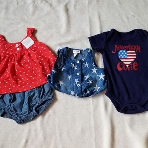 4th Of July Bundle: Baby Girl 0-3 Months